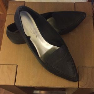 Point toe black flats